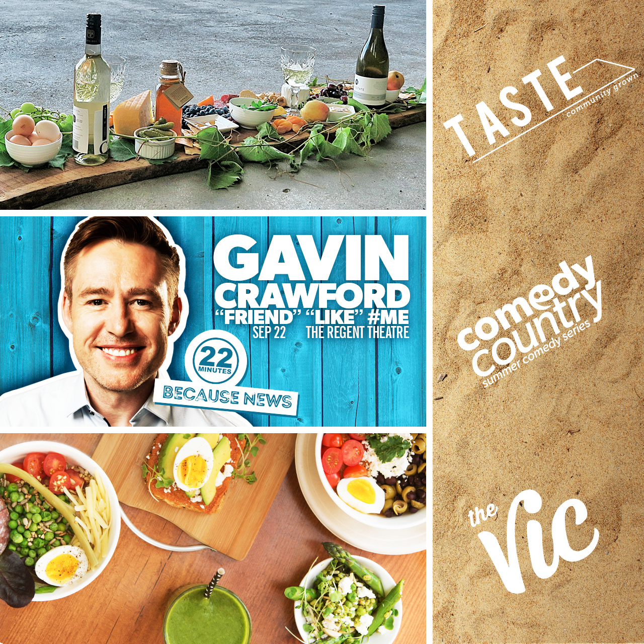 Eat, Drink, Laugh Package: TASTE Community Grown, The Vic Cafe and Comedy Country