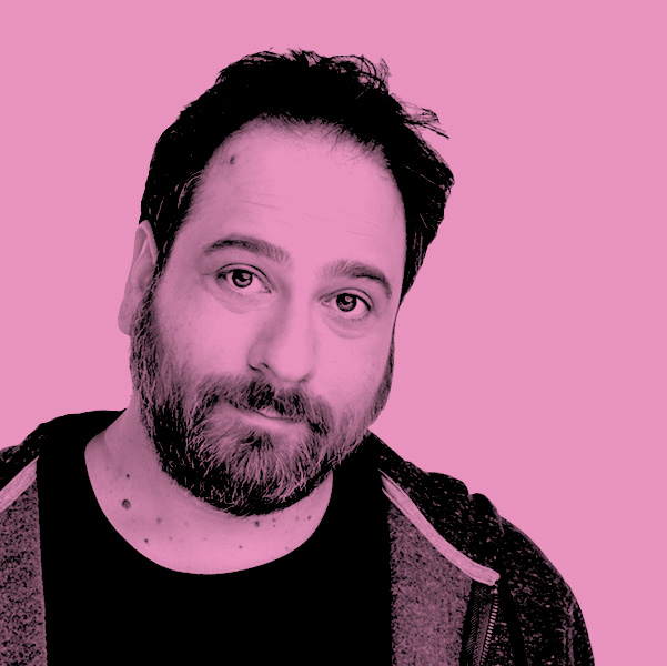 Image Description: A Pink filtered photograph of Lenny Epstein