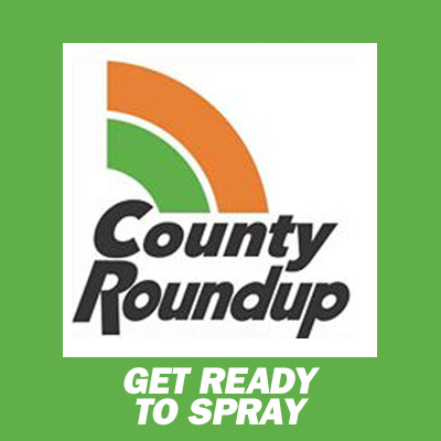 Image Description: a parody logo treatment evocative of the Roundup herbicide featuring the text County Roundup Get Ready to Spray.