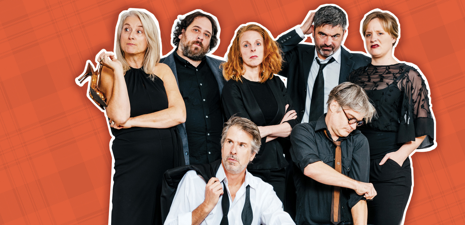 Image Description: A photograph of The County's Artisanal Comedy Troupe: TASTE THAT! against a red, plaid background
